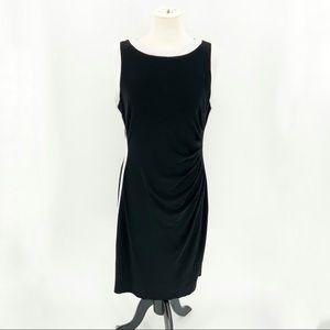 Chaps Black Sleeveless Dress White Side Stripe